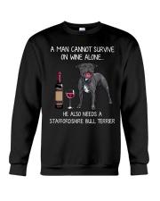 Wine and Staffordshire Bull Terrier - Man version Crewneck Sweatshirt thumbnail