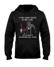 Wine and Staffordshire Bull Terrier - Man version Hooded Sweatshirt thumbnail