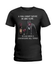 Wine and Staffordshire Bull Terrier - Man version Ladies T-Shirt thumbnail