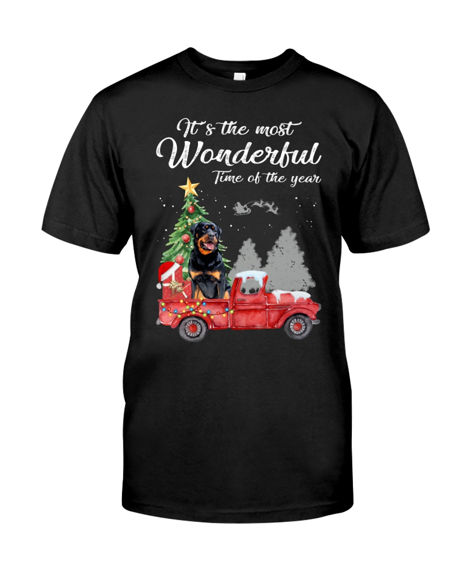 Wonderful Christmas with Truck - Rottweiler Classic T-Shirt