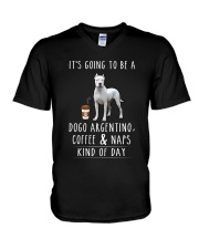 Dogo Argentino  Coffee and Naps V-Neck T-Shirt thumbnail