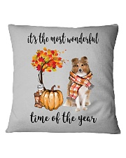 The Most Wonderful Time - Rough Collie Square Pillowcase thumbnail