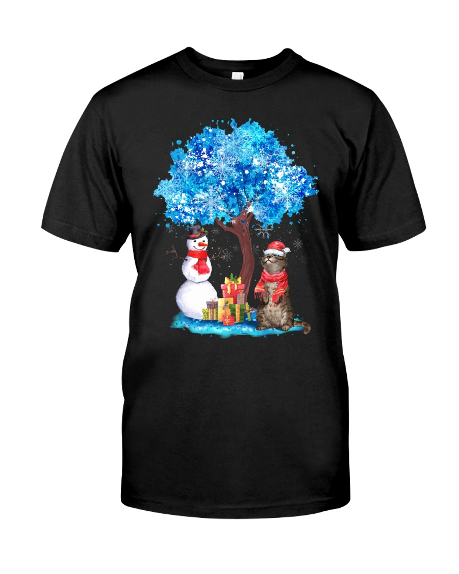 Snow Tree and Cat Classic T-Shirt