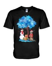 Snow Tree and Cat V-Neck T-Shirt thumbnail
