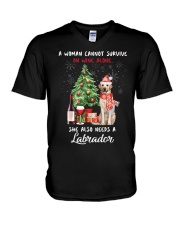 Christmas Wine and Labrador V-Neck T-Shirt thumbnail