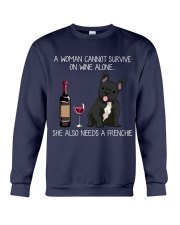 Wine and Frenchie 3 Crewneck Sweatshirt thumbnail