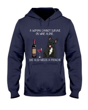 Wine and Frenchie 3 Hooded Sweatshirt thumbnail