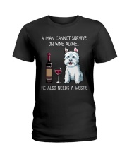 Wine and Westie - Man version Ladies T-Shirt thumbnail