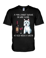 Wine and Westie - Man version V-Neck T-Shirt thumbnail