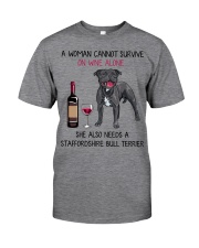 Wine and Staffordshire Bull Terrier 2 Classic T-Shirt thumbnail