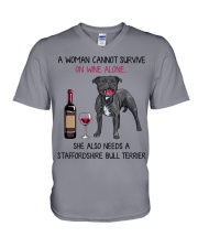 Wine and Staffordshire Bull Terrier 2 V-Neck T-Shirt thumbnail