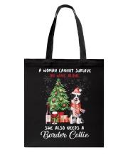Christmas Wine and Border Collie Tote Bag thumbnail
