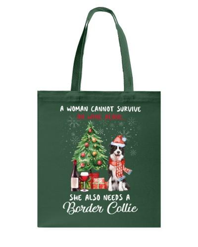 Christmas Wine and Border Collie