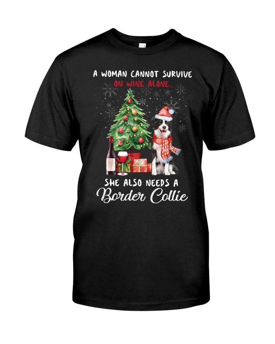 Christmas Wine and Border Collie Classic T-Shirt