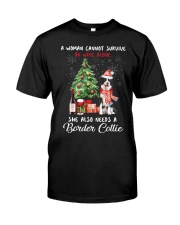 Christmas Wine and Border Collie Classic T-Shirt front