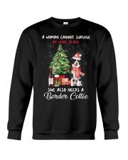 Christmas Wine and Border Collie Crewneck Sweatshirt thumbnail
