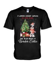 Christmas Wine and Border Collie V-Neck T-Shirt thumbnail