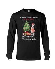 Christmas Wine and Border Collie Long Sleeve Tee thumbnail