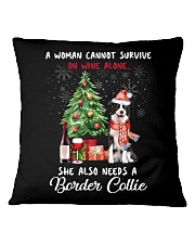 Christmas Wine and Border Collie Square Pillowcase thumbnail