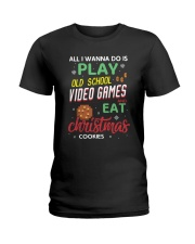 Old School Video Games and Christmas Cookies Ladies T-Shirt thumbnail
