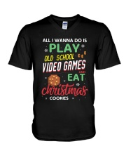Old School Video Games and Christmas Cookies V-Neck T-Shirt thumbnail
