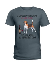 Wine and Harrier Dog 2 Ladies T-Shirt thumbnail