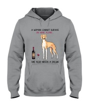 Wine and Saluki 2 Hooded Sweatshirt thumbnail