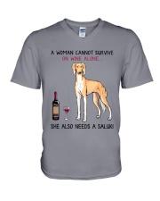Wine and Saluki 2 V-Neck T-Shirt thumbnail