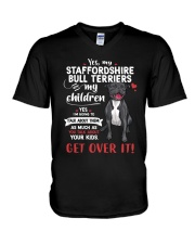 My Staffordshire Bull Terriers - My Children V-Neck T-Shirt thumbnail