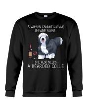 Wine and Bearded Collie Crewneck Sweatshirt thumbnail