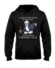 Wine and Bearded Collie Hooded Sweatshirt thumbnail