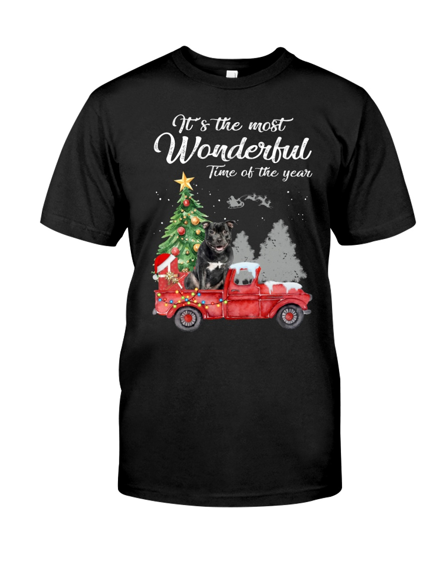 Wonderful Christmas with Truck - Staffie Classic T-Shirt