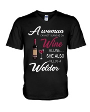 Wine and A Welder 3 V-Neck T-Shirt thumbnail