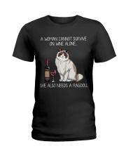 Wine and Ragdoll Cat Ladies T-Shirt thumbnail