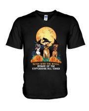 Howloween Staffordshire Bull Terrier 2 V-Neck T-Shirt thumbnail