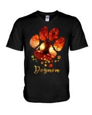 Dog Mom Autumn Leaves Halloween V-Neck T-Shirt thumbnail