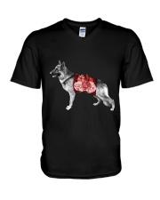 Flower and German Shepherd V-Neck T-Shirt thumbnail