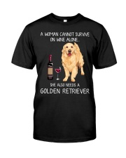 Wine and Golden Retriever Classic T-Shirt front