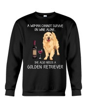 Wine and Golden Retriever Crewneck Sweatshirt thumbnail