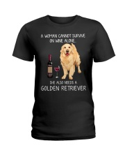 Wine and Golden Retriever Ladies T-Shirt tile