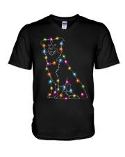 Christmas Light Border Collie V-Neck T-Shirt thumbnail