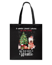 Christmas Wine and Westie Tote Bag thumbnail