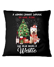 Christmas Wine and Westie Square Pillowcase thumbnail