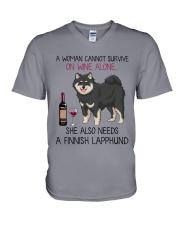 Wine and Finnish Lapphund 2 V-Neck T-Shirt thumbnail