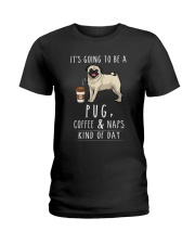 Pug Coffee and Naps Ladies T-Shirt thumbnail
