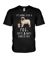 Pug Coffee and Naps V-Neck T-Shirt thumbnail