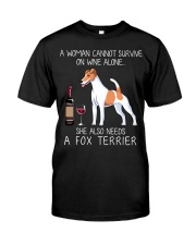 Wine and Fox Terrier Classic T-Shirt front