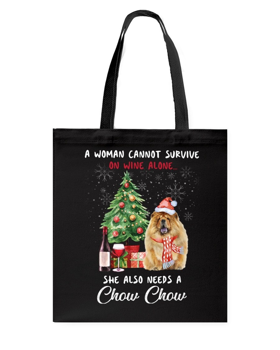 Christmas Wine and Chow Chow Tote Bag