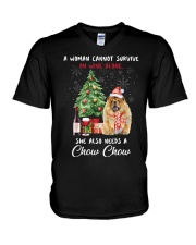 Christmas Wine and Chow Chow V-Neck T-Shirt thumbnail