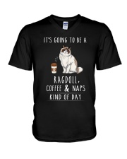 Ragdoll Coffee and Naps V-Neck T-Shirt tile